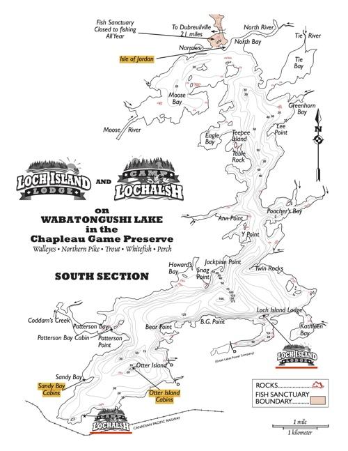 Loch Island Lodge & Camp Lochalsh - Wabatongushi Lake Map 2017